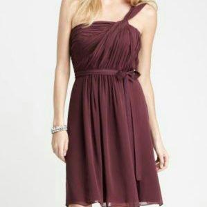 Ann Taylor Serena Twist Dress Burgundy/Dark Plum